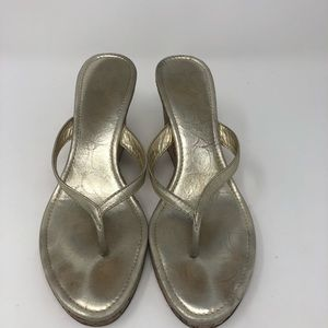 Coach Gold Wedge Sandal Size 9.5M
